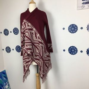 Almost Famous southwestern print red cardigan S